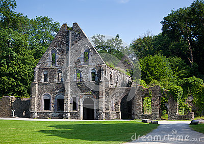 Ancient ruins of the guest house of the Abbey of Villers la Ville, Belgium