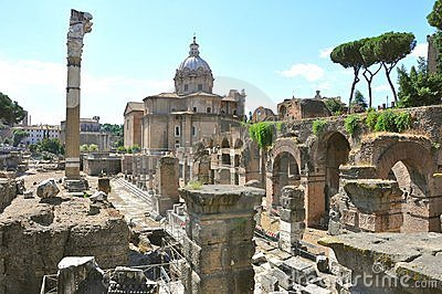 Ancient ruins in Rome , Italy