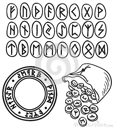 Ancient runes drawing