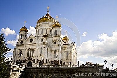 Ancient russian temple in Moscow city.