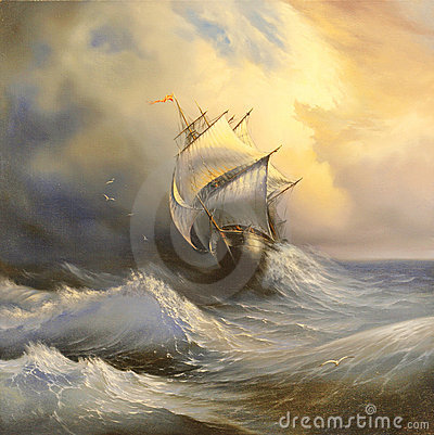 Ancient sailing vessel in stormy