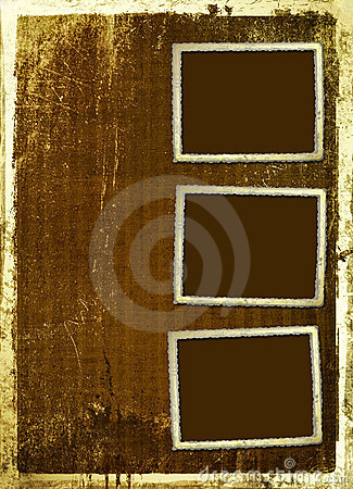 Ancient scratch background with gold edging