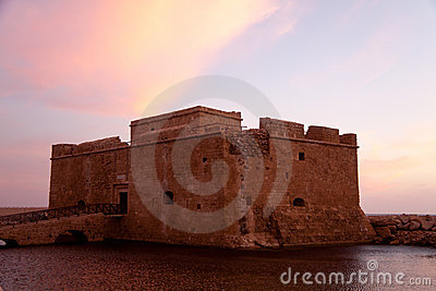 Ancient Sea Castle at Paphos town in Cyprus ,Sunse