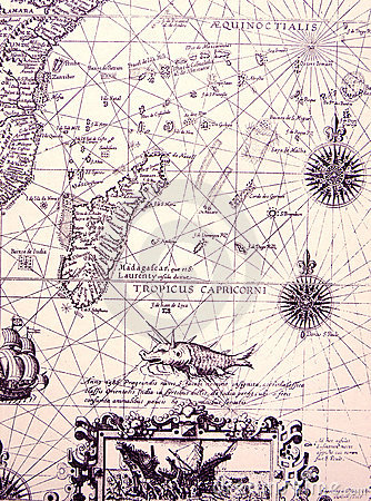Ancient sea chart, details