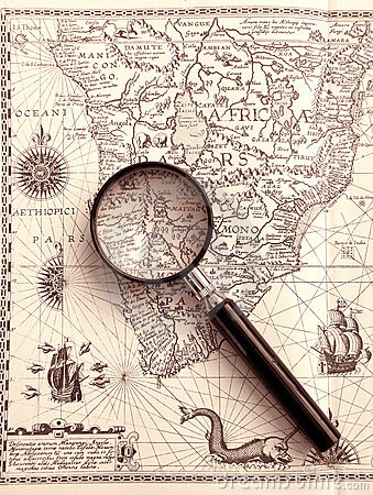 Ancient sea chart, magnifier