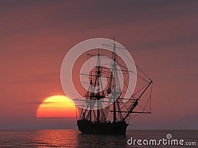 Ancient ship at sunset