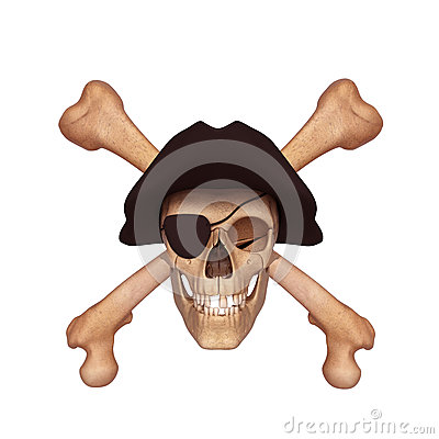 Ancient skull with two bones and black cap
