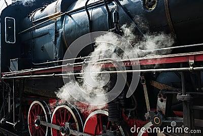 Ancient steam locomotive in steam. Live steam around mechanical