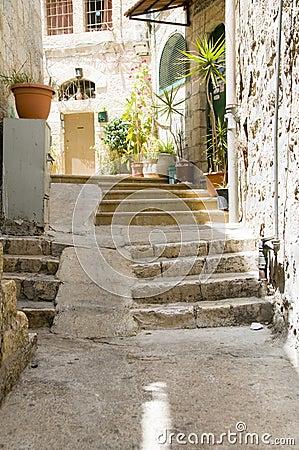 Ancient steps old city Jerusalem Palestine Israel