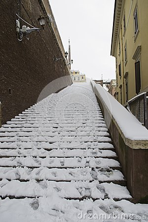 Ancient Steps Under Snow In Rome Center Stock Photos - Image: 23248783