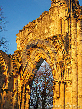 Ancient stone abbey, England.