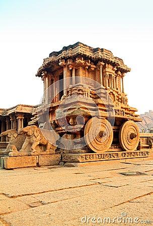 The ancient stone chariot at Hampi, India