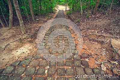 Ancient stone path from Ta Som temple. Angkor Wat