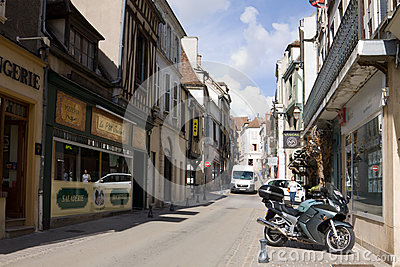 An ancient street in Auxerre city in Burgundy, France Editorial Stock Image