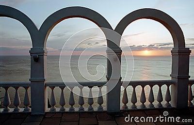 Ancient sunset on sea