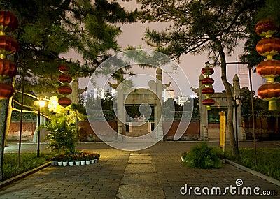 Ancient Temple of Sun Lanterns Beijing China Night
