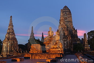 Ancient temple by twightlight in Ayuthaya, Thailand