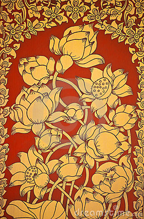 Ancient Thai Mural flower painting of flowers 2