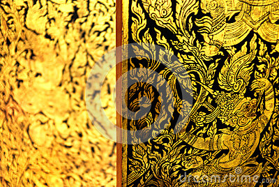 Ancient Thai pattern on door