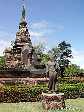 Ancient thai temple + statue