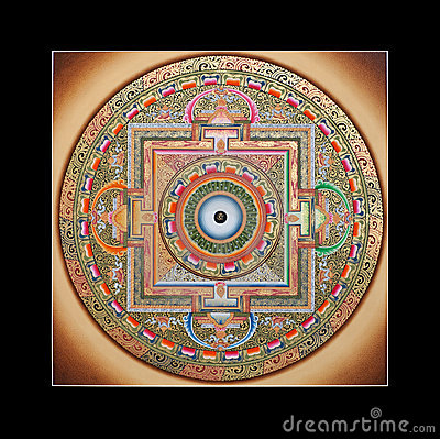 Free Ancient Tibetan Tangka Ohm Mandala Royalty Free Stock Photography - 21602337