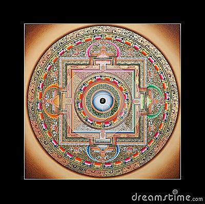 Ancient tibetan tangka Ohm mandala