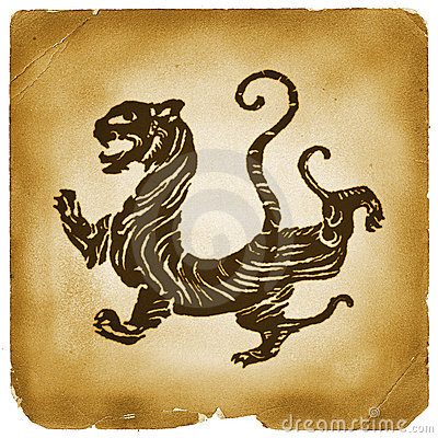 Ancient Chinese tiger graphical symbol