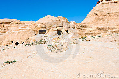 Ancient tombs and caves in Bab as-Siq Petra