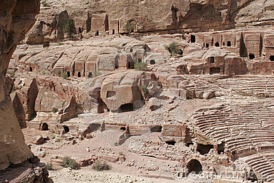 Ancient tombs in Petra, Jordan, Middle East