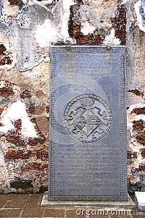 Ancient Tombstone at Church Ruins