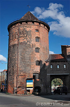 Ancient tower in Gdansk, Poland.