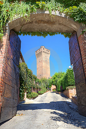 Ancient tower in Santa Vittoria D Alba, Italy.