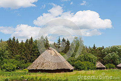 Ancient traditional ukrainian rural houses Editorial Stock Image