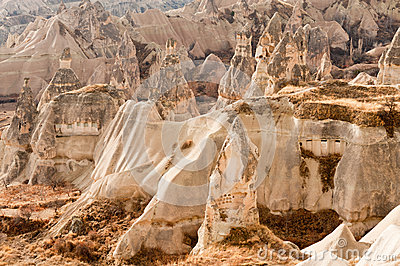 Ancient tuff stone caves landscape in Cappadocia
