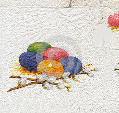 Ancient used easter paper serviette background