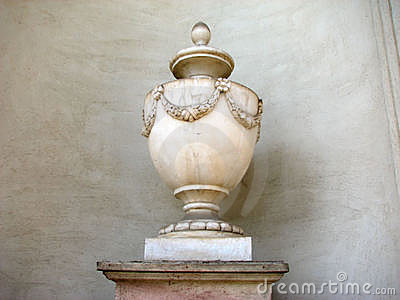 Ancient vase with fine flower decor