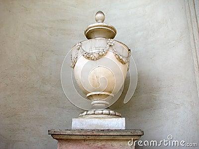 Ancient vase with fine flower decor