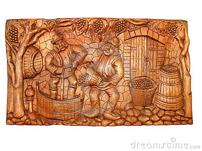 Ancient vintage wooden Bas-relief
