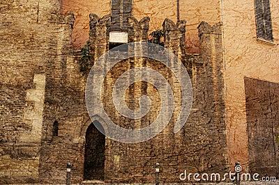 Ancient wall in Modena Italy
