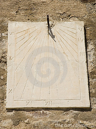 Ancient wall sundial
