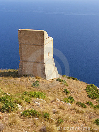 Ancient watchtower against sea