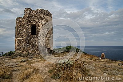 Ancient watchtower ruin, Sardinia, Italy