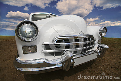 Ancient white car
