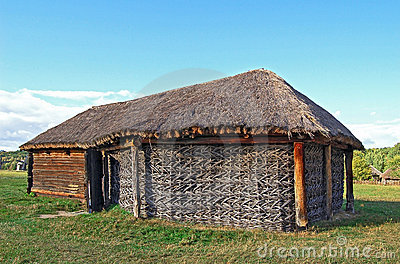 Ancient wicker barn with a straw roof