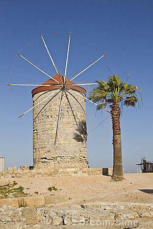 Ancient windmill in Rhodes