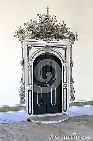 Ancient wooden door in harem Topkapi palace