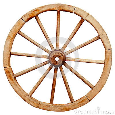 Free Ancient Wooden Grunge Wagon Wheel In Country Style Isolated On W Stock Images - 44405384