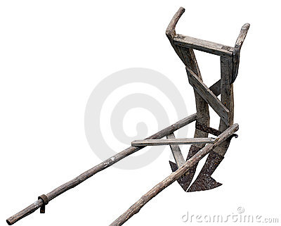 Ancient wooden plough
