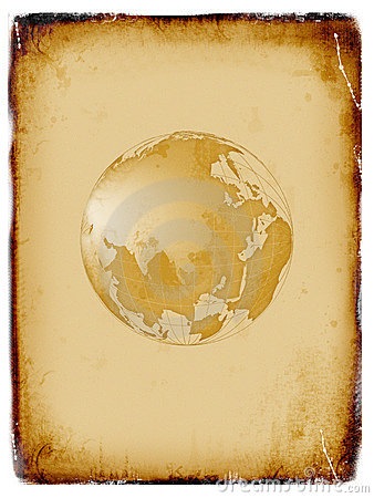 Ancient world map, globe, grunge background