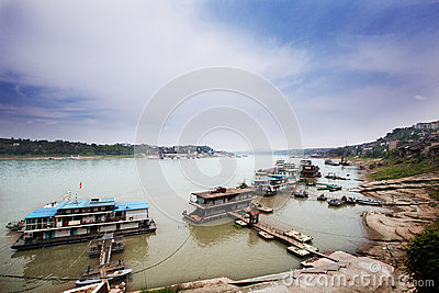 The ancient Yangtze River pier Editorial Stock Image